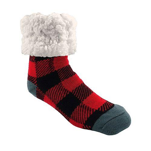 Piika Faux Fur Slipper Socks in Buf Check Red