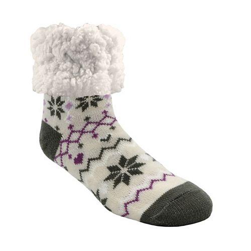 Piika Faux Fur Slipper Socks in Snowflake Grey