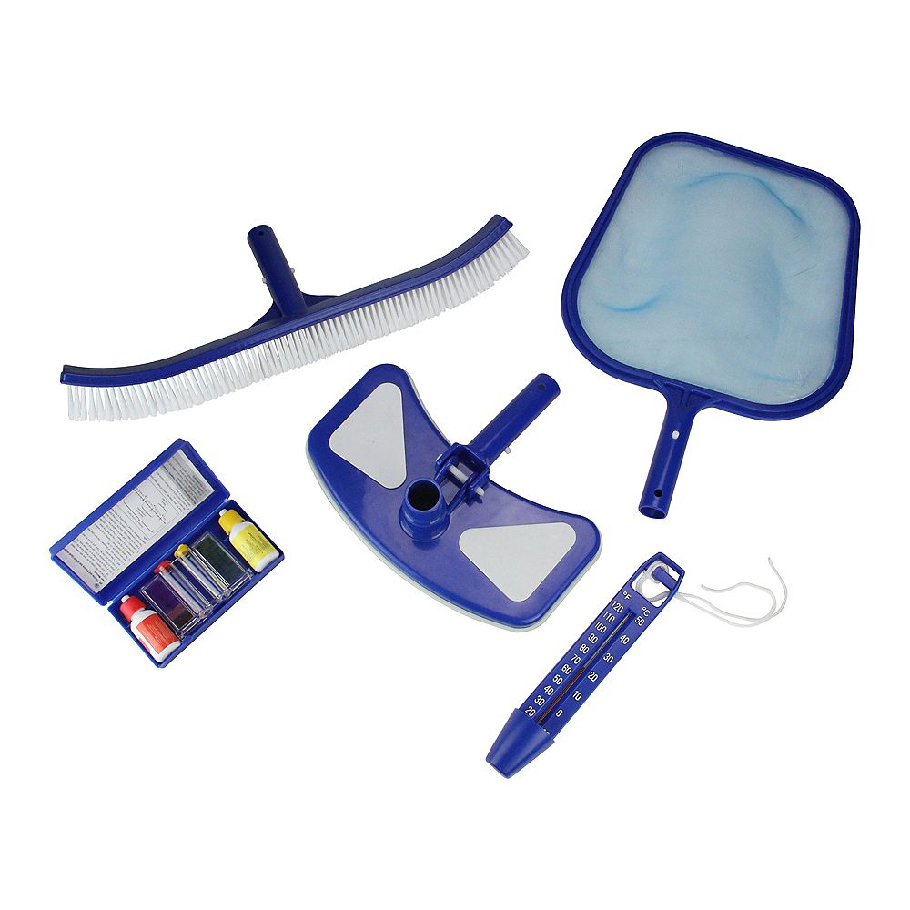 Pool Central 5 Pieces Blue And White Premium Swimming Pool Cleaning Maintenance Set With T The Home Depot Canada
