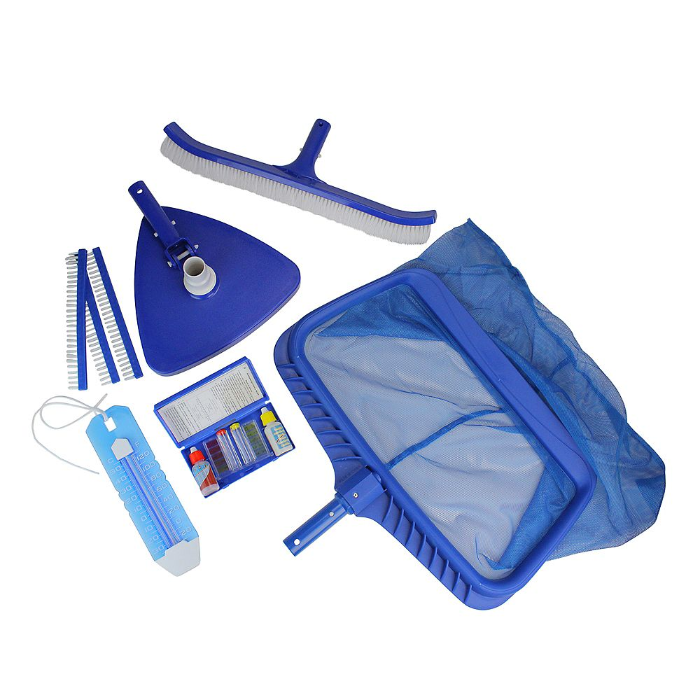 Pool Central 5 Pieces Blue Deluxe Swimming Pool Cleaning And Test Kit 19 The Home Depot Canada