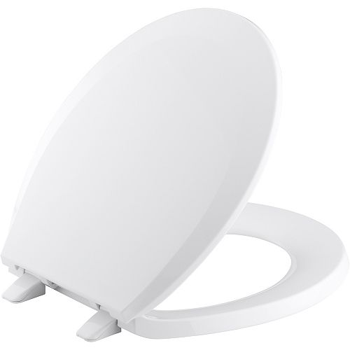 Lustra Quick-Release round-front toilet seat, Earthen White