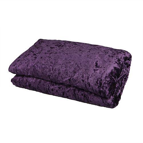 Jeté réversible velours écrasé et flanelle brillante violette