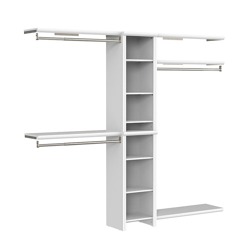 ClosetMaid Impressions Basic 4 ft. W to 9 ft. W Narrow Closet Combo Kit in White with 8 Shelves and 3 Expandable Closet Rods