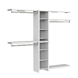 Impressions Basic 4 ft. W to 9 ft. W Narrow Closet Combo Kit in White with 8 Shelves and 3 Expandable Closet Rods