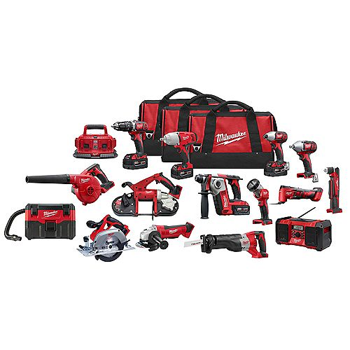 M18 18V Li-Ion Cordless Combo Tool Kit (15-Tools) with (4) 3.0Ah Batteries, (1) Six-Port Charger