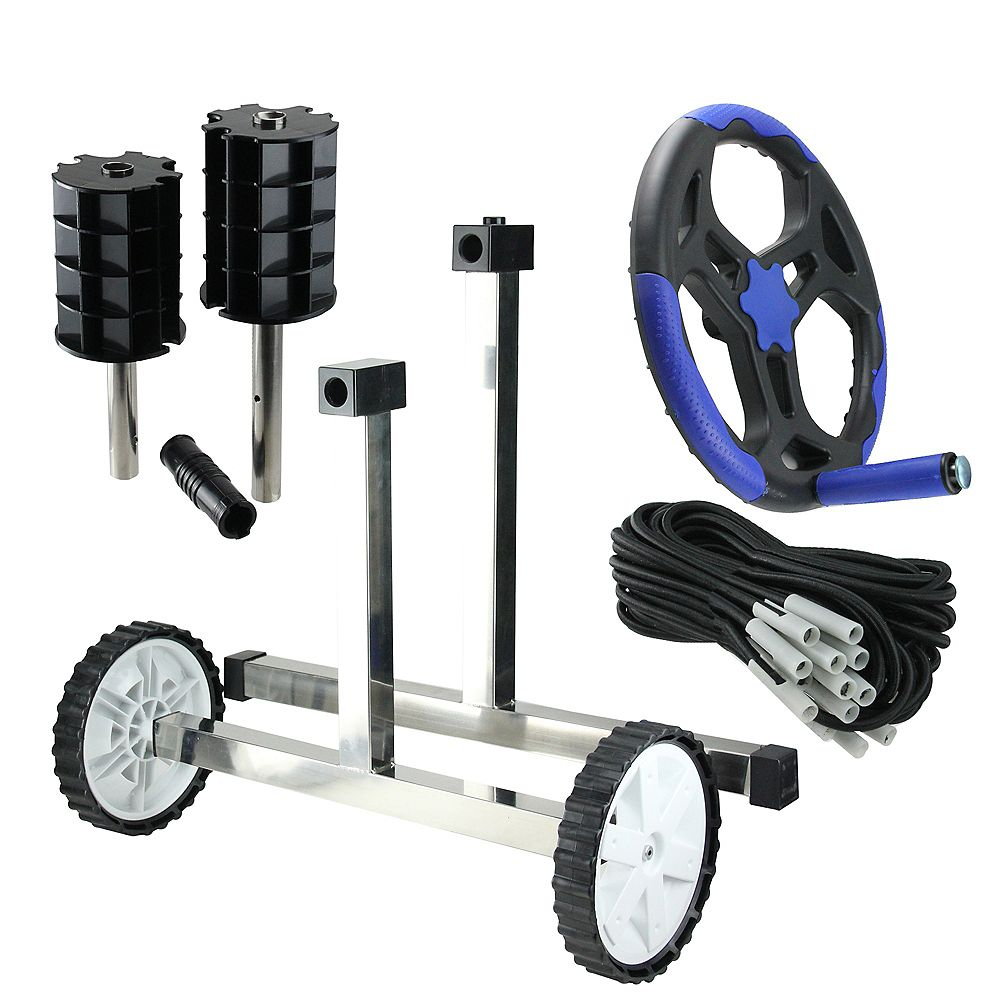 """Pool Central 21"""" Black and Blue In-Ground Pool Cover Reel System with Stainless Steel Frame for 3'' Tubes"""