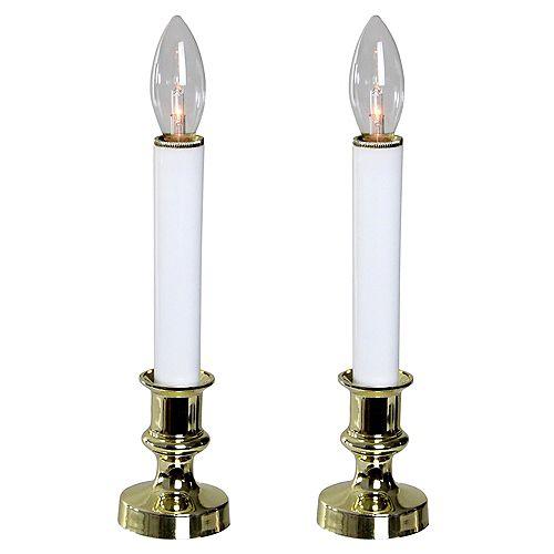 """Lot de 2 bougies de Noël blanc et or Lampes 9"""""""