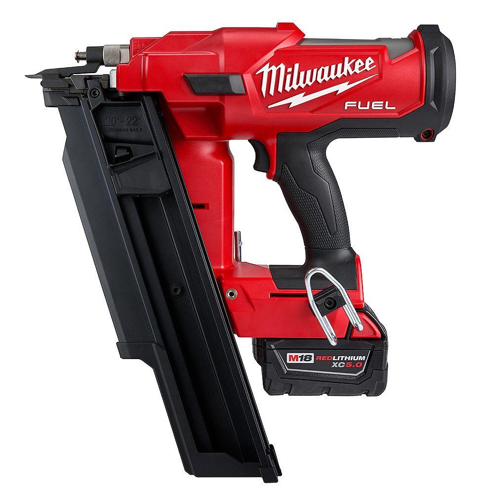 Milwaukee Tool M18 FUEL 3-1/2 -inch 18V 21-Degree Brushless Cordless Framing Nailer Kit w/ 5.0 Ah Battery & Charger