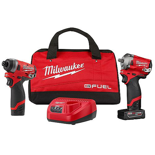 M12 FUEL 2PC Auto Kit w/ 3/8 -in Stubby Impact Wrench, 1/4 -in Hex Impact Driver and 2 Batteries