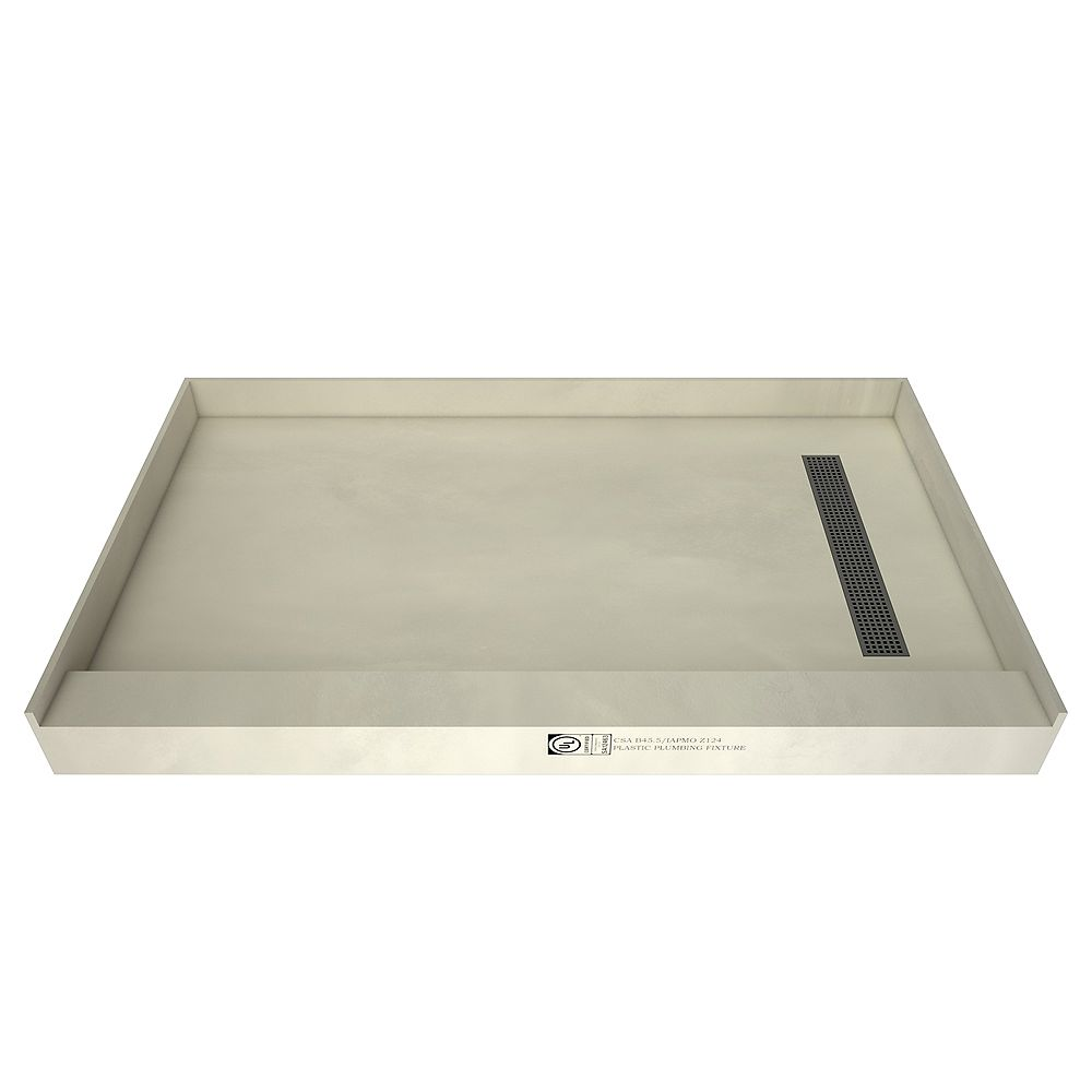 Tile Redi Base de douche à seuil simple, drain à droite, grille de tranchée nickel brossé, 36 po x 60 po