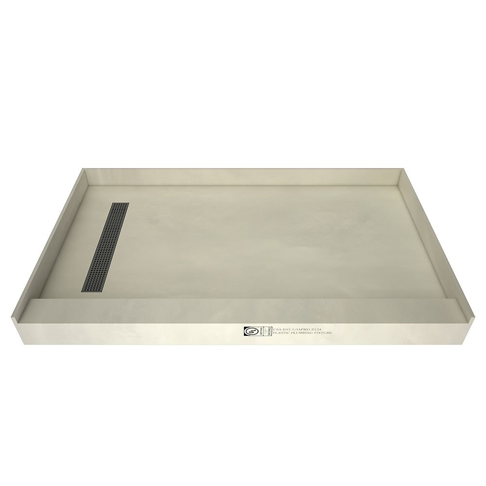 Tile Redi 36 in. x 60 in. Single Threshold Shower Base with Left Drain and Brushed Nickel Trench Grate