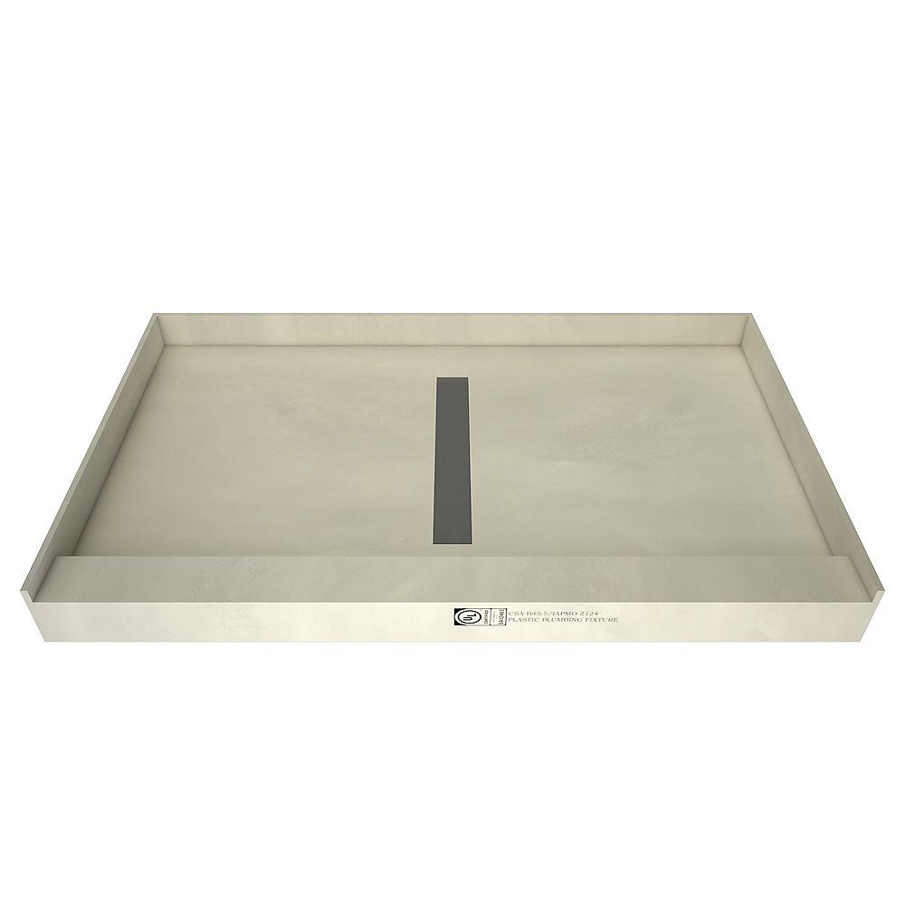 Tile Redi Base de douche à seuil simple avec drain central et grille de tranchée carrelable, 36 po x 60 po