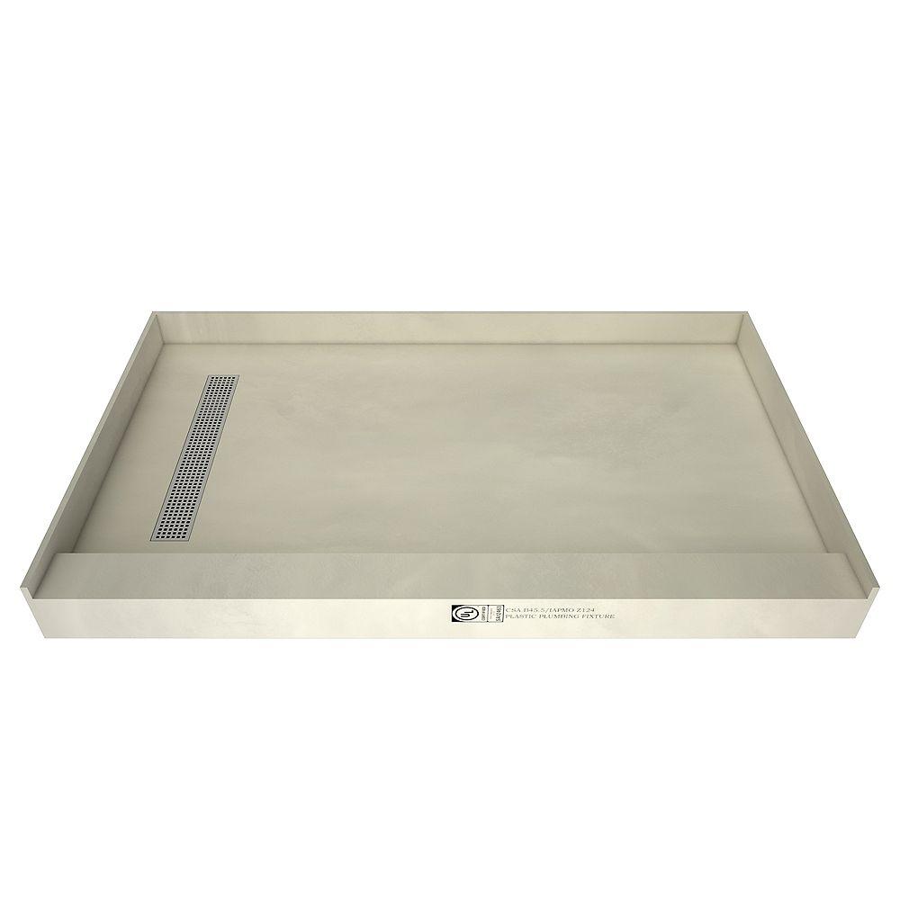Tile Redi Base de douche à seuil simple, drain à gauche, grille de tranchée chrome poli, 36 po x 42 po