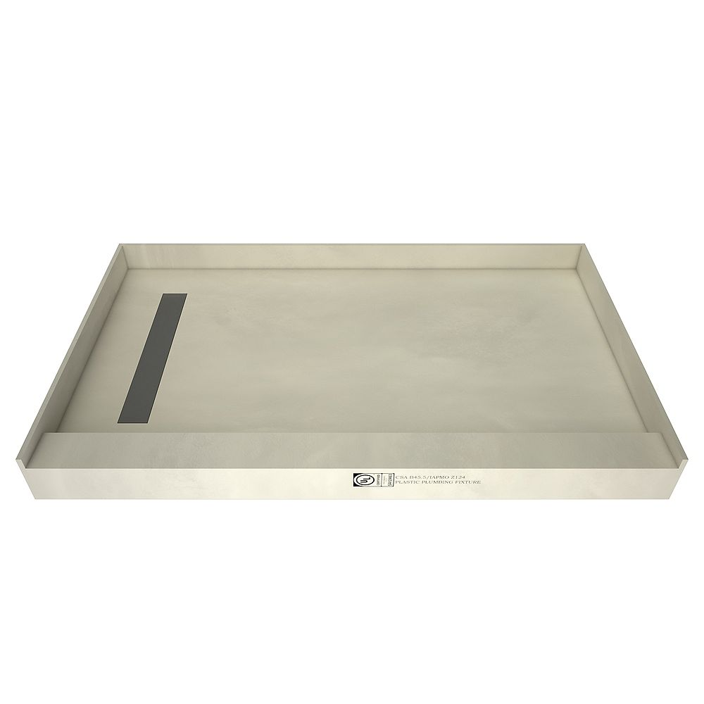 Tile Redi 48 in. x 72 in. Single Threshold Shower Base with Left Drain and Solid Brushed Nickel Trench Grate