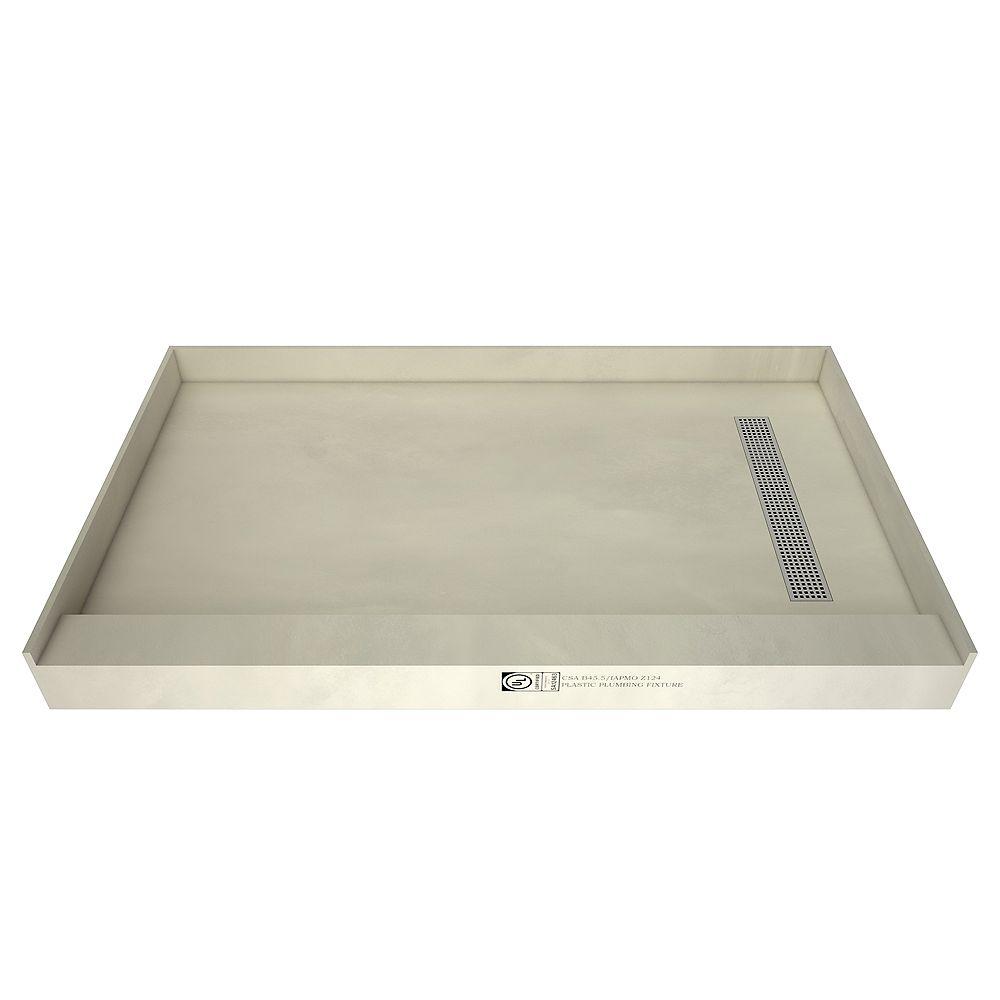 Tile Redi Base de douche à seuil simple, drain à droite, grille de tranchée chrome poli, 34 po x 48 po