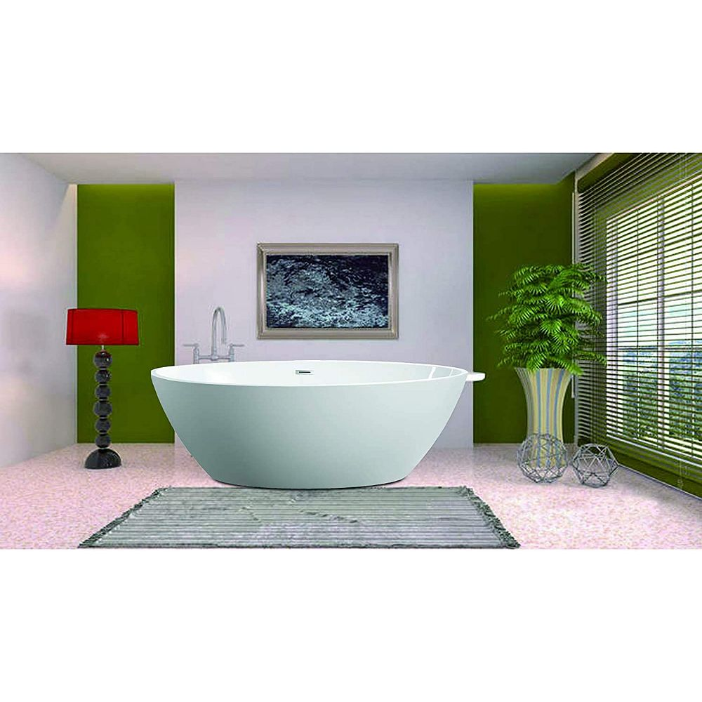 Vanity Art 55 Inch Freestanding Acrylic Bathtub With Polished Chrome Overflow Pop Up Dra The Home Depot Canada