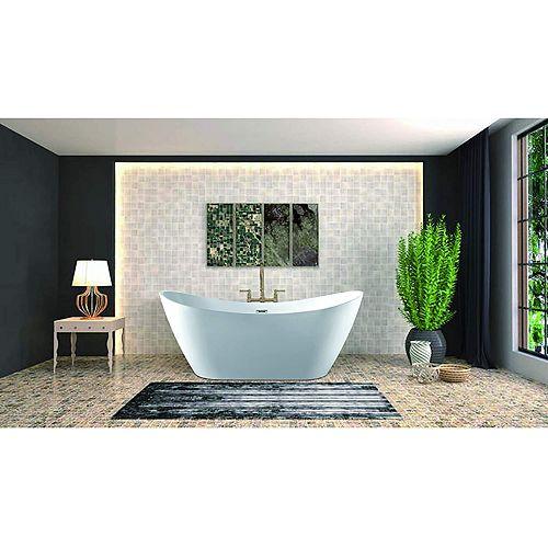 Vanity Art 71 inch Freestanding Acrylic Bathtub With Polished Chrome Overflow & Pop-Up Drain VA6903