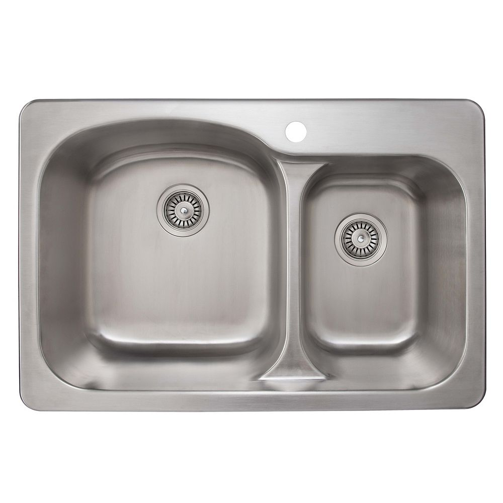 Ancona Tusca 33-inch Offset Double Bowl Undermount or Drop-In Kitchen Sink in Stainless Steel