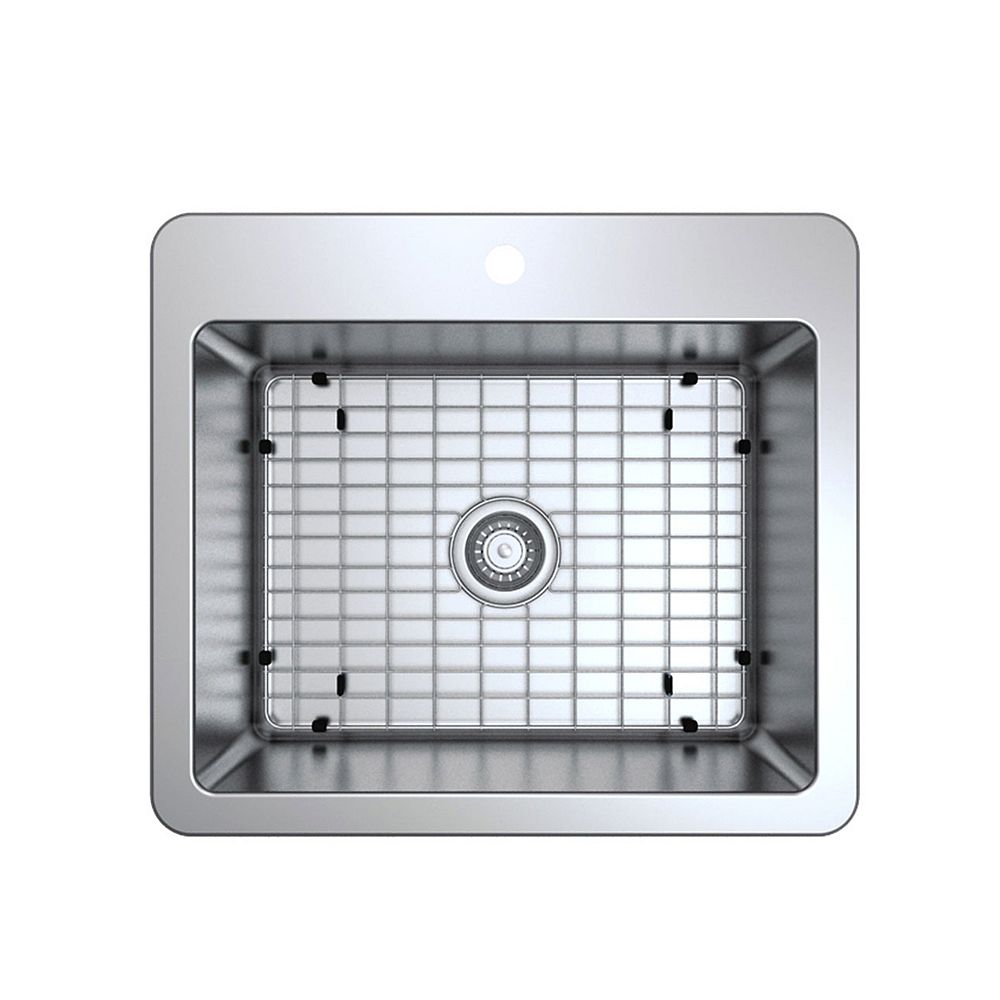 Ancona Valencia 25-inch Single Bowl Undermount or Drop-In Kitchen Sink in Stainless Steel
