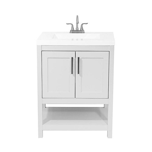 Tufino 25 in. Bath Vanity in White with Cultured Marble Vanity Top in White with White Basin
