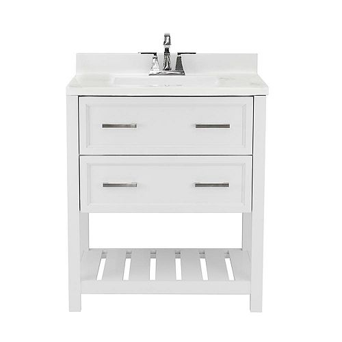 Milan 31 in. Bath Vanity in White with Cultured Marble Vanity Top in Carrara with White Basin