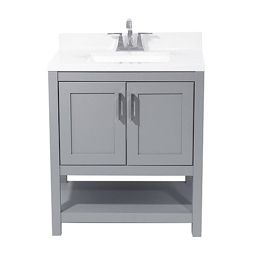 AmLuxx Tufino 31 in. Bath Vanity in Grey with Cultured Marble Vanity Top in Carrara with White Basin