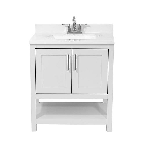 Tufino 31 in. Bath Vanity in White with Cultured Marble Vanity Top in Carrara with White Basin