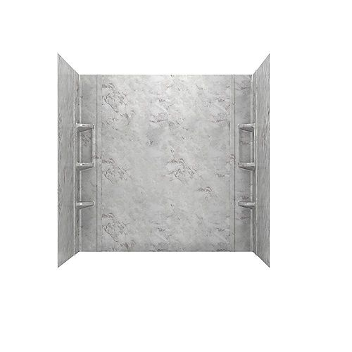 American Standard Ovation 32 in. x 60 in. x 59 in. 5-Piece Glue-Up Alcove Bath Wall Set in Silver Celestial