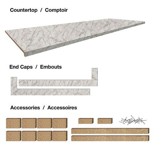 6 pi Comptoir surface de travail 25-1/2 x 96 x 1-1/4 Profil 2700 avec accessoires - Faded Memories