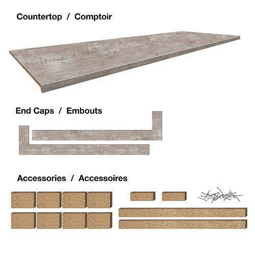 Belanger Laminates Inc. Comptoir stratifié de 8 pi. Style Urban Life, avec accessoires 25-1/2 x 96 x 1-1/4