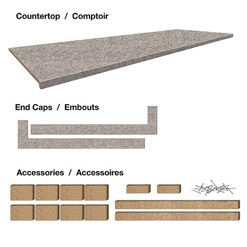 Belanger Laminates Inc. Comptoir stratifié de 6 pi. style Bernard, avec accessoires 25-1/2 x 72 x 1-1/4