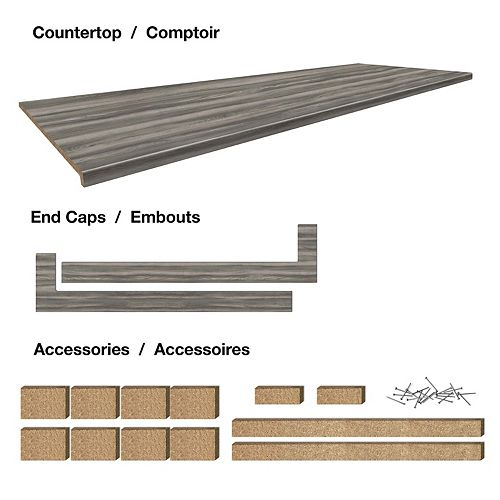 Belanger Laminates Inc 8 ft. Countertop Work Station 25-1/2 x 96 x 1-1/4 Profile 2700 with Accessories - Afternoon Nap