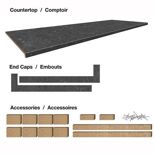 Belanger Laminates Inc. Comptoir stratifié de 6 pi. style Upland Stone, avec accessoires 25-1/2 x 72 x 1-1/4