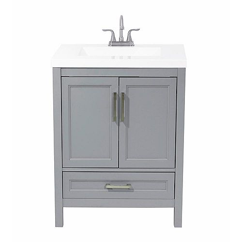 AmLuxx Salerno 25 in. Bath Vanity in Grey with Cultured Marble Vanity Top in White with White Basin