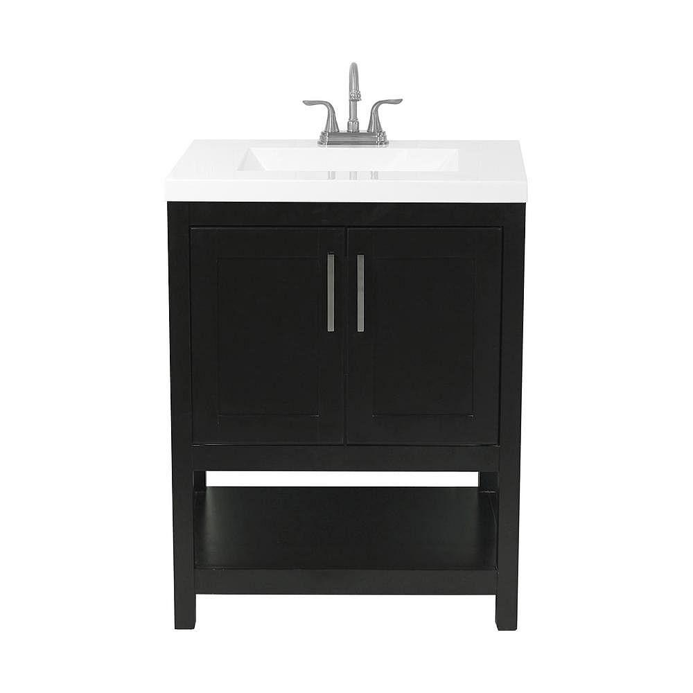 AmLuxx Tufino meuble-lavabo de 25 po en expresso et dessus en similimarbre blanc
