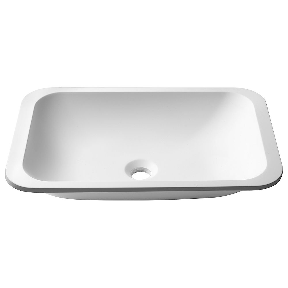 Kraus Évier de salle de bain sous plan rectangulaire avec finition mate et revêtement nano en blanc
