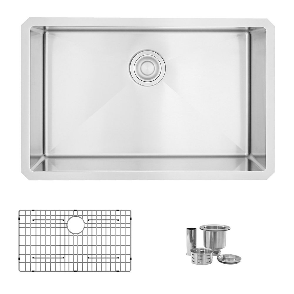 Stylish 28 L x 18 W-inches Undermount Single Bowl 16 Gauge Stainless Steel Kitchen Sink with Grid Strainer