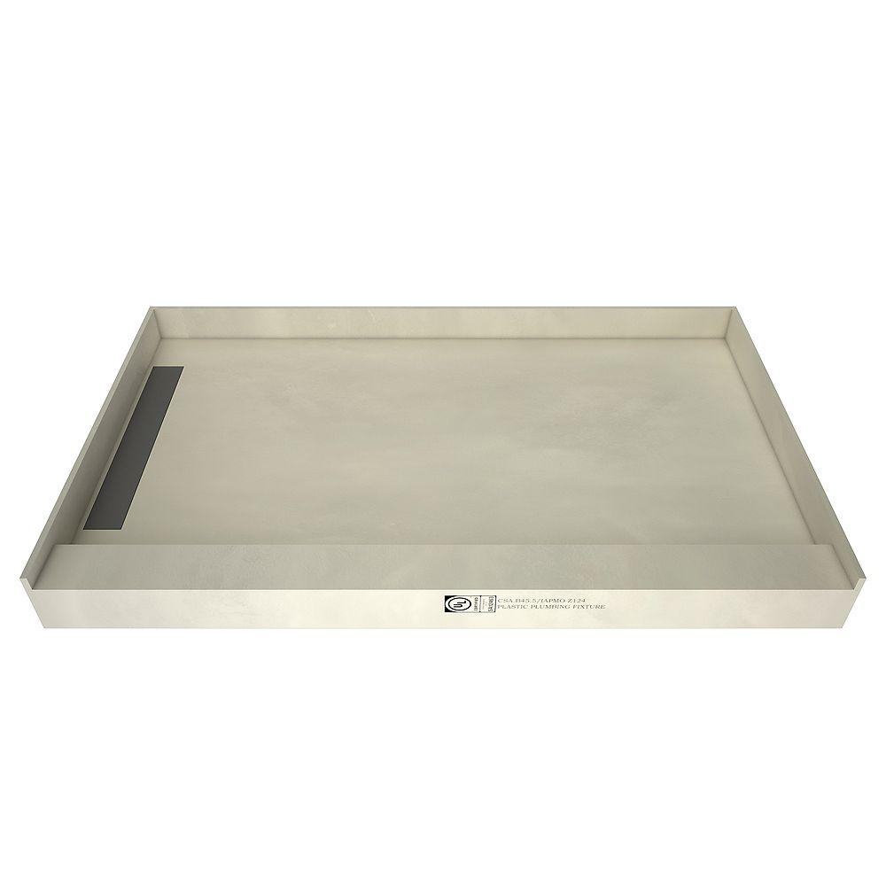 Tile Redi Base de douche à seuil simple, drain à gauche, grille de tranchée carrelable, 42 po x 72 po