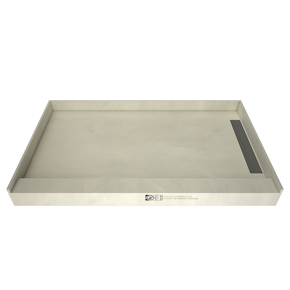 Tile Redi 36 in. x 60 in. Single Threshold Shower Base with Right Drain and Tileable Trench Grate
