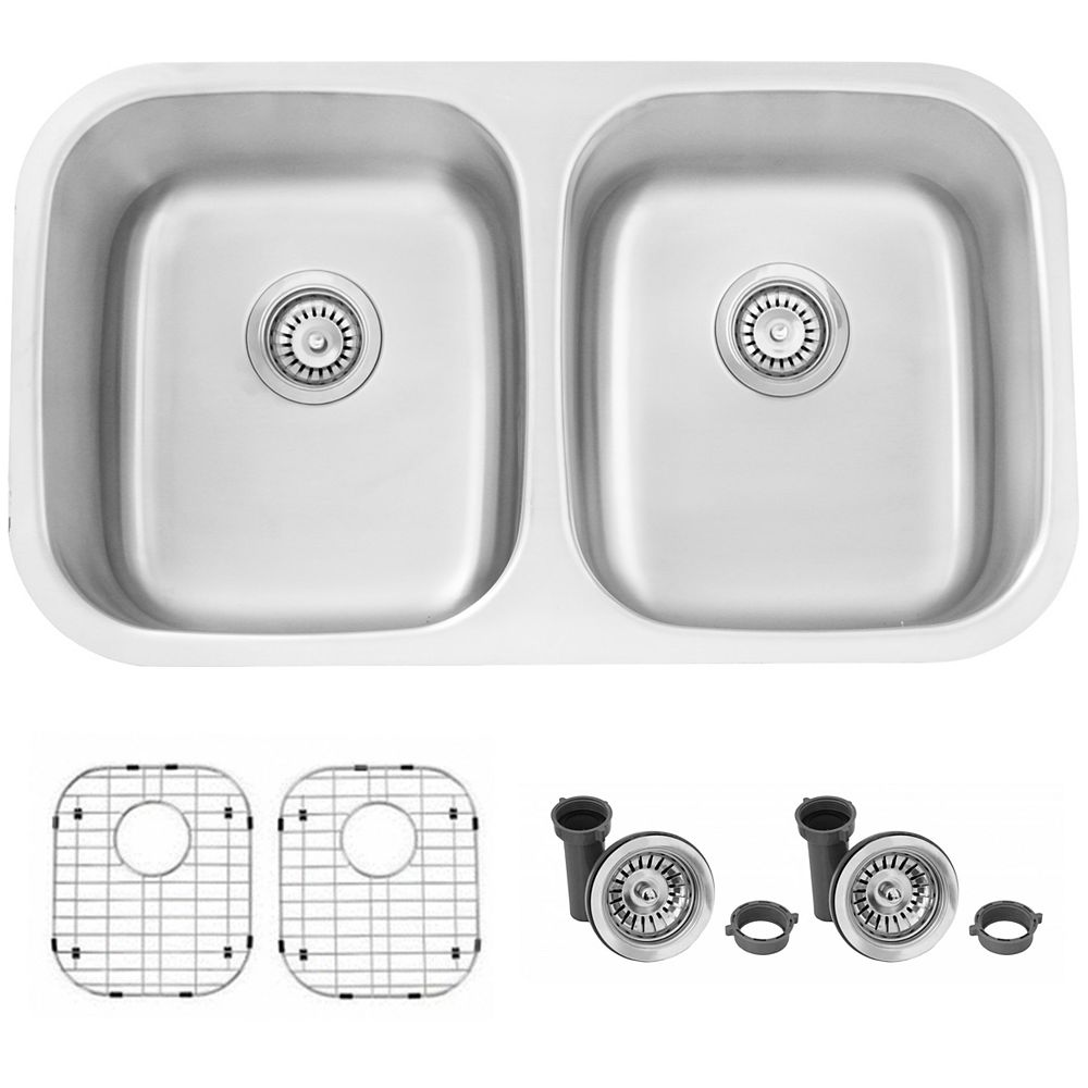 Stylish 32L x 19W-inch Dual Mount Double Bowl 16 Gauge Stainless Steel Kitchen Sink with Grids and Strainers