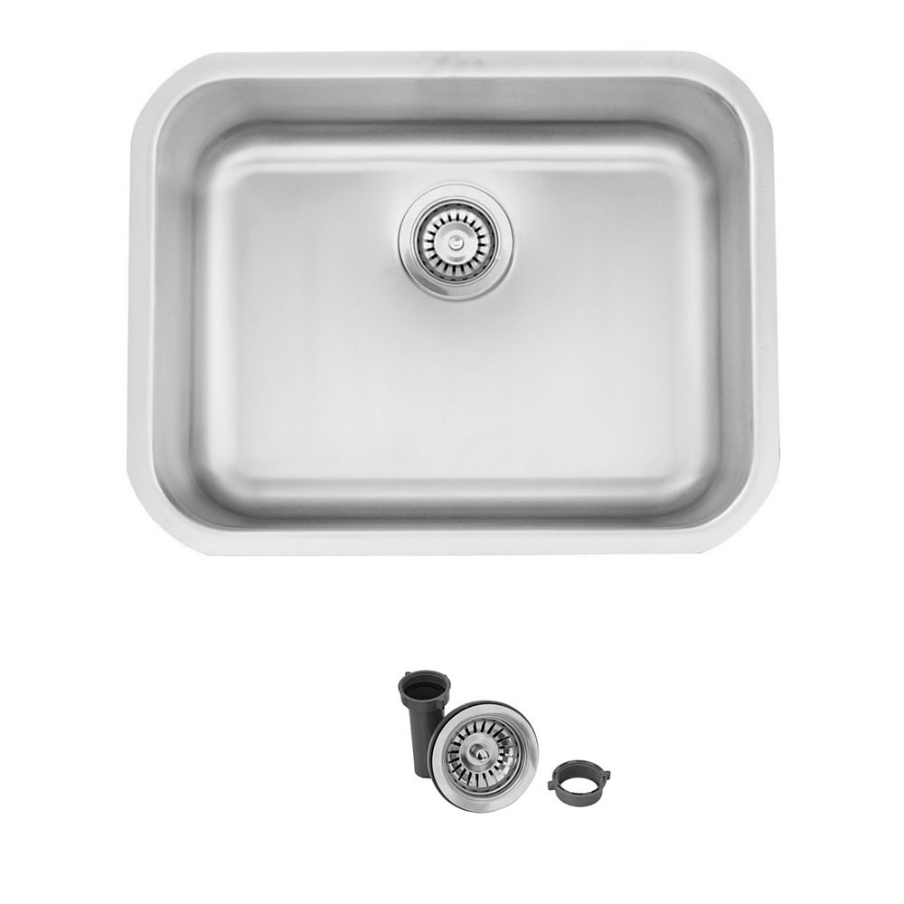 Stylish 23 L x 18 W-inch Dual Mount Single Bowl 18 Gauge Stainless Steel Kitchen Sink with Strainer