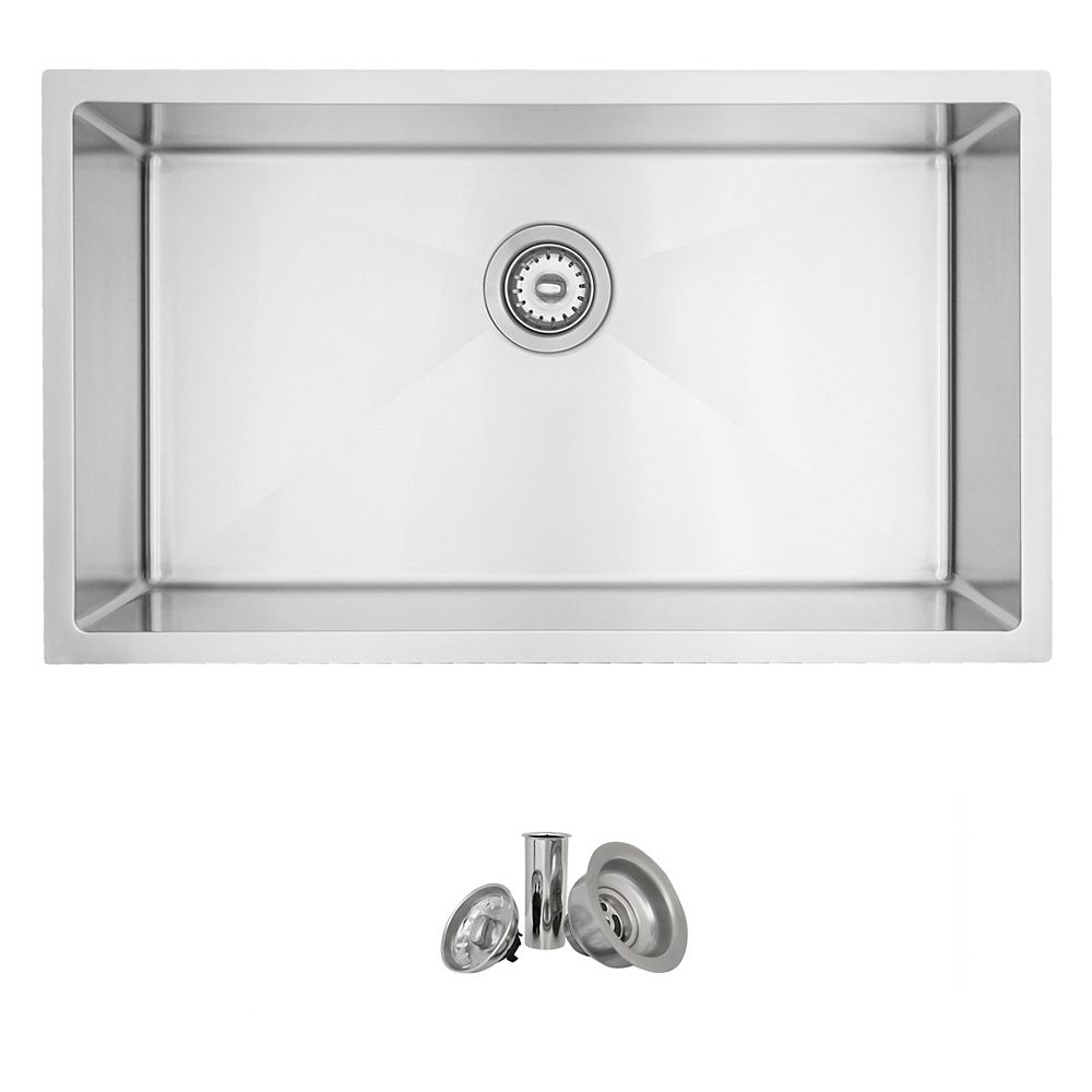 Stylish 31 L X 18 W Inch Undermount Single Bowl 18 Gauge Stainless Steel Kitchen Sink With The Home Depot Canada