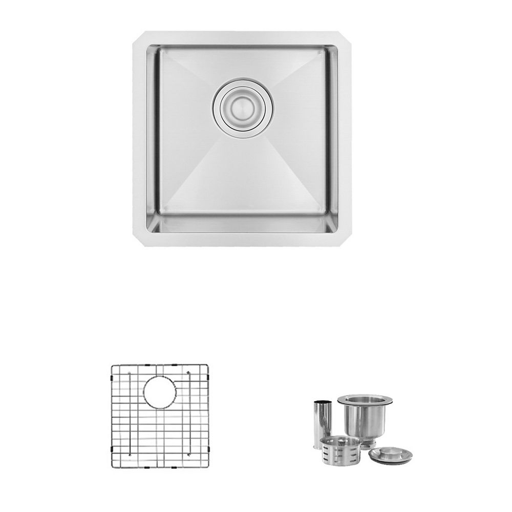 Stylish 15 L x 15 W-inch Undermount Single Bowl 18 Gauge Stainless Steel Bar Sink with Grid and Strainer