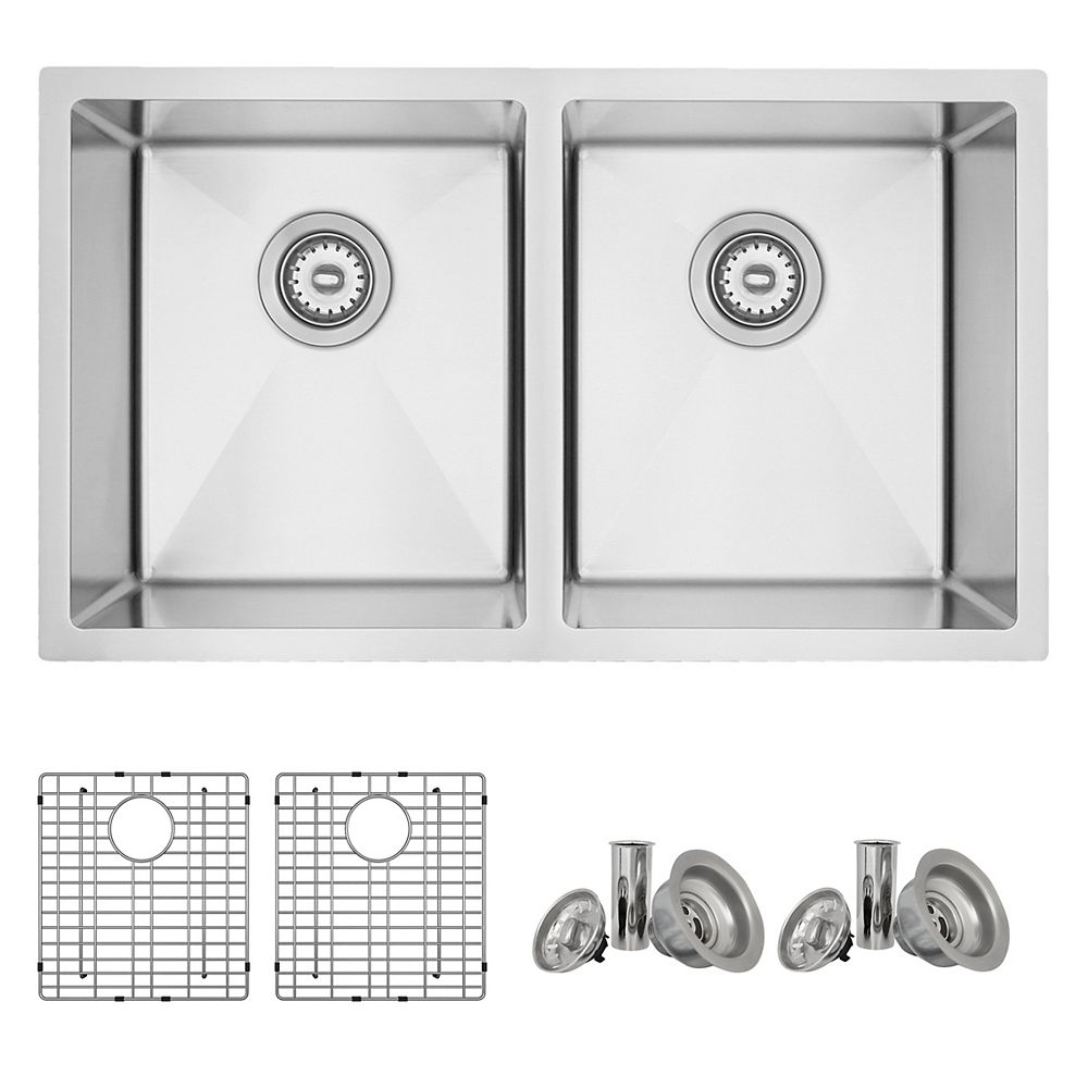 Stylish 31l X 18w Inch Undermount Double Bowl 18 Gauge Stainless Steel Kitchen Sink With G The Home Depot Canada