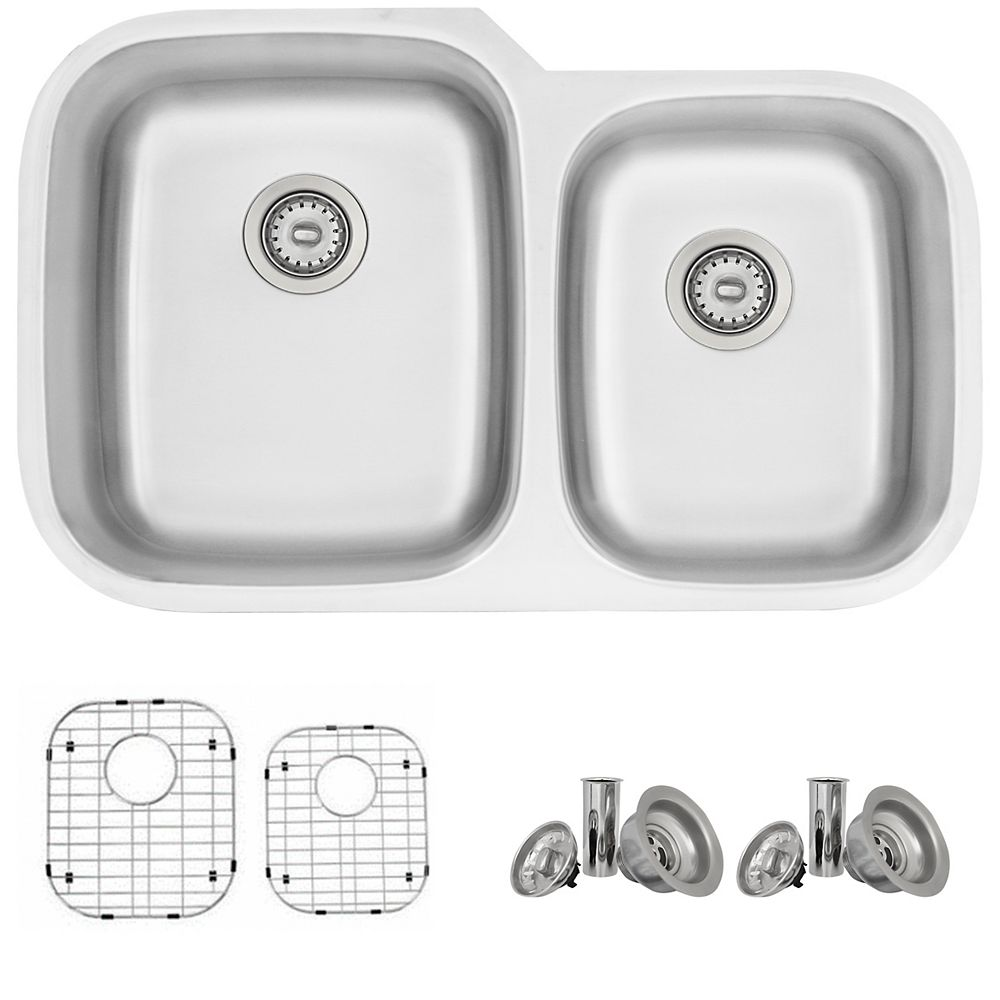 Stylish 32L x 20.75W-inch Dual Mount Double Bowl 18G Stainless Steel Kitchen Sink with Grids and Strainers