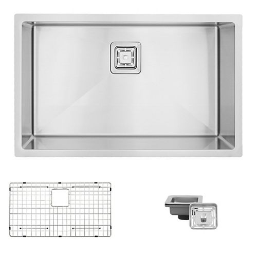 AZUNI 30 inch L x 18 inch W Undermount Single Bowl Stainless Steel Kitchen Sink with Grid Strainer