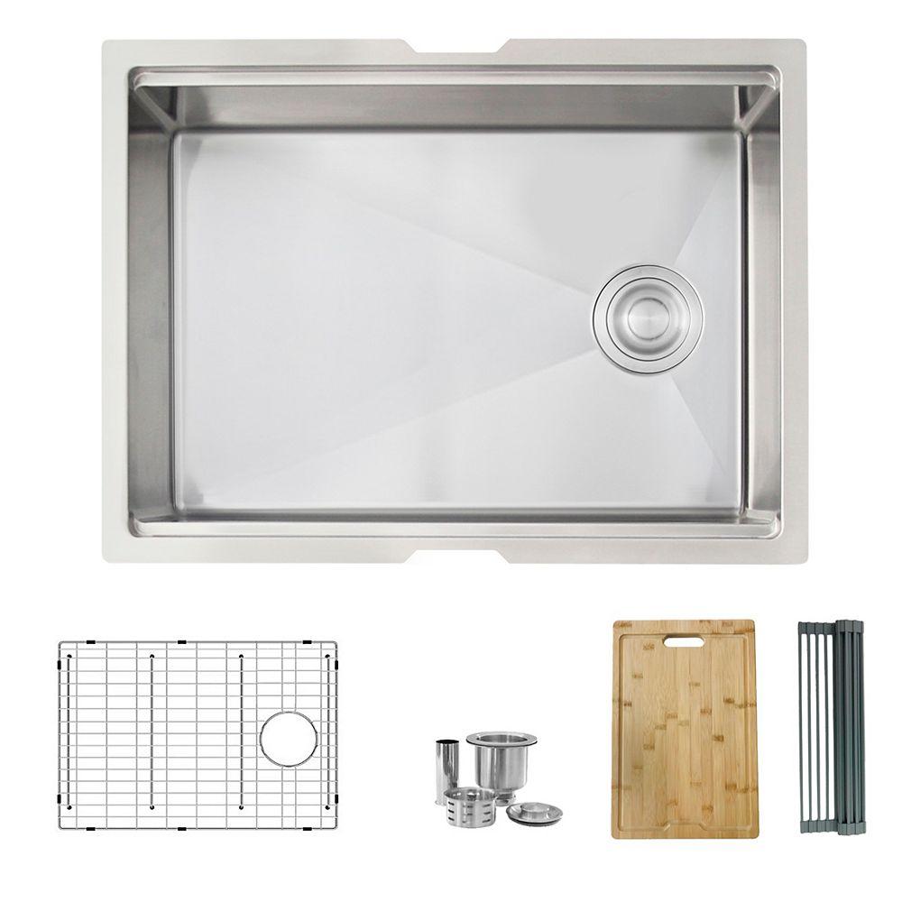 Stylish STYLISH 25 inch Workstation Single Bowl Undermount 16 Gauge Stainless Steel Kitchen Sink with Build in Accessories