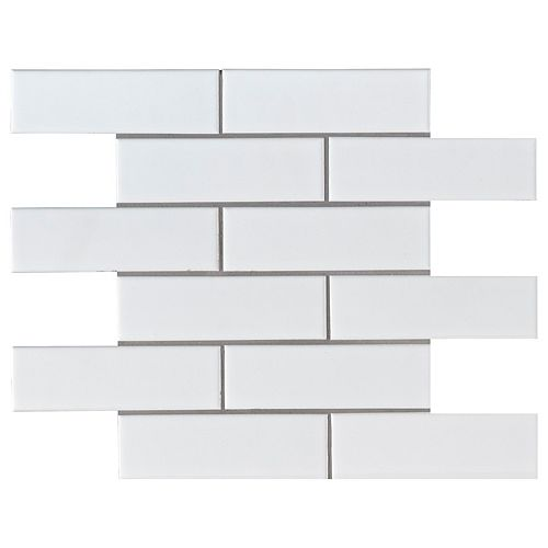 Bristol Snow Subway 11.3 in. x 11.57 in. x 6 mm Porcelain Mesh-Mounted Mosaic Tile (0.91 sq. ft.)