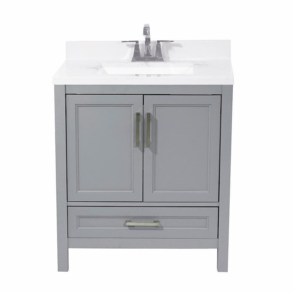 AmLuxx Salerno meuble-lavabo de 31 po en gris et dessus en similimarbre de carrare blanc