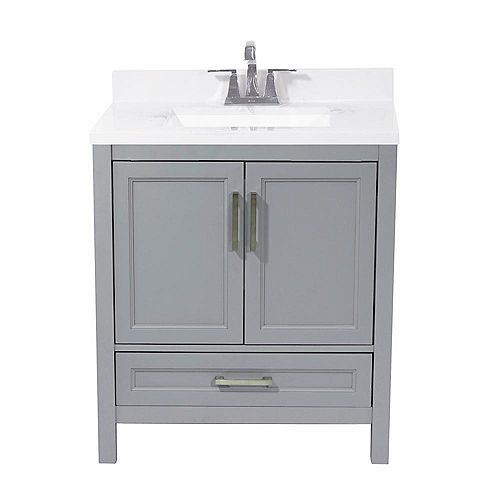 Salerno 31 in. Bath Vanity in Grey with Cultured Marble Vanity Top in Carrara with White Basin